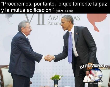 Raul Castro y Barack Obama en la cumbre de las Americas en Panama