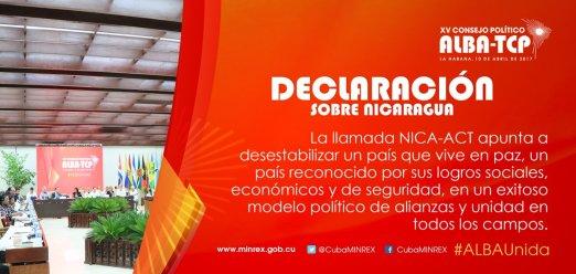 Resultado de imagen para Declaración del XV Consejo Político del ALBA-TCP sobre Nicaragua